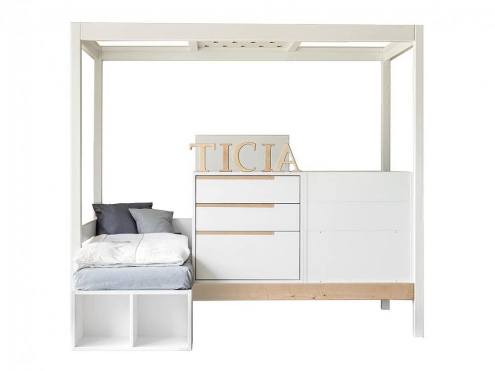 3 in 1 Bett Ticia for Two Weiß - Natur, Complojer for Kids