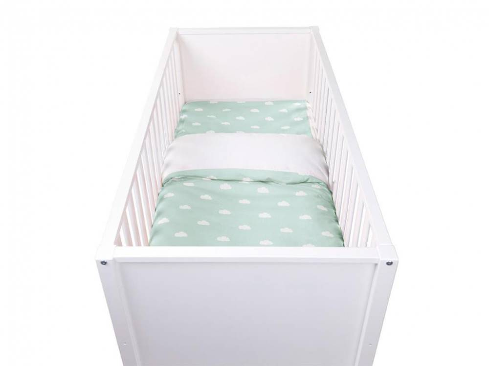 Baby Bettwäsche Snoozy Clouds Mint Blue, 100x140cm, Jersey, Childhome