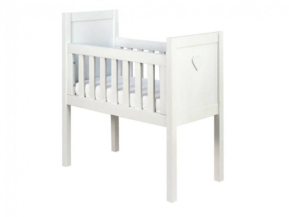 Baby Wiege Basic Wood Herz White Wash 40x80cm, Bopita