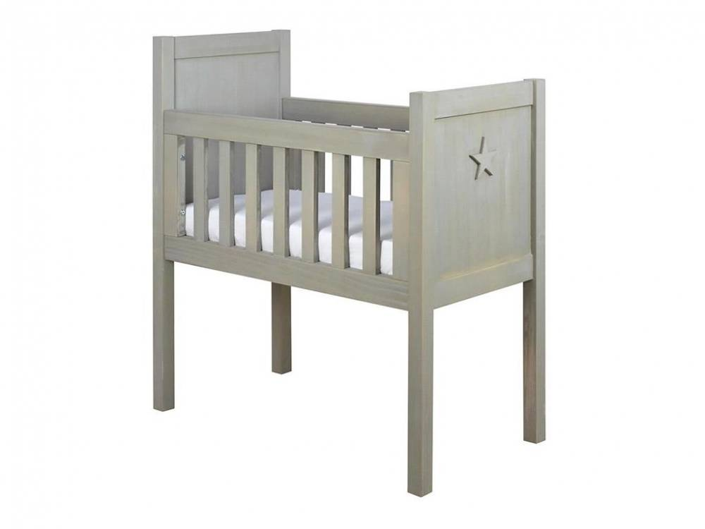 Baby Wiege Basic Wood Star Salty Grey 40x80cm, Bopita