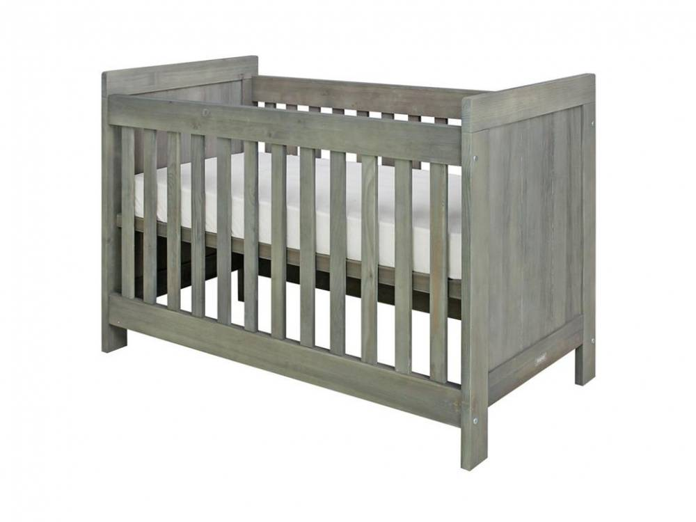 Babybett Basic Wood Grey Wash 60x120cm, Lattenrost Höhenverstellbar, Bopita