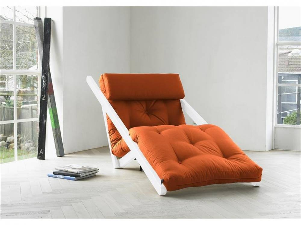 Futon Lounge Sessel, Gestell Kiefer, Farbe Weiß, Karup FIGO Orange (738)