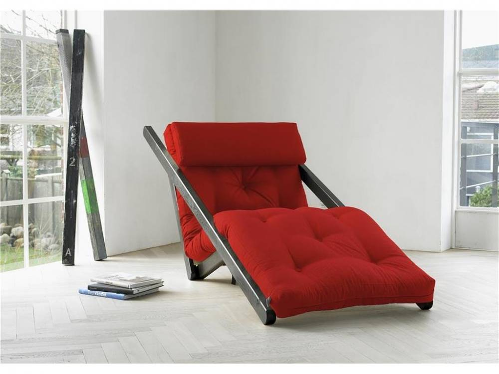 Futon Lounge Sessel, Gestell Kiefer, Farbe Wenge, Karup FIGO Red (711)