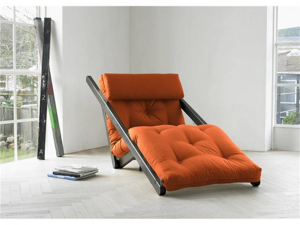 Futon Lounge Sessel, Gestell Kiefer, Farbe Wenge, Karup FIGO Orange (738)