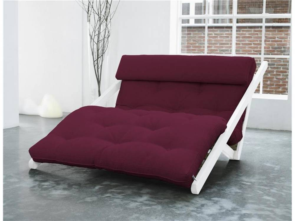 Futon Lounge Sofa, Gestell Kiefer, Farbe Weiß, Karup FIGO Light Bordeaux (710)