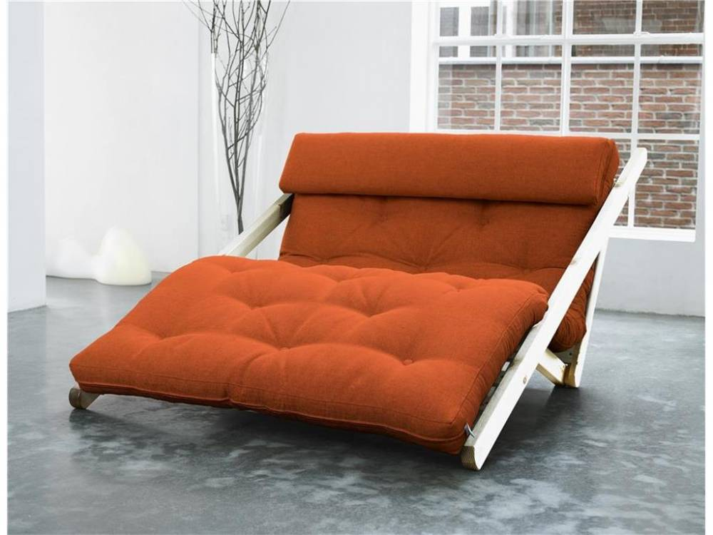 Futon Lounge Sofa, Gestell Kiefer Unbehandelt, Karup FIGO Orange (738)