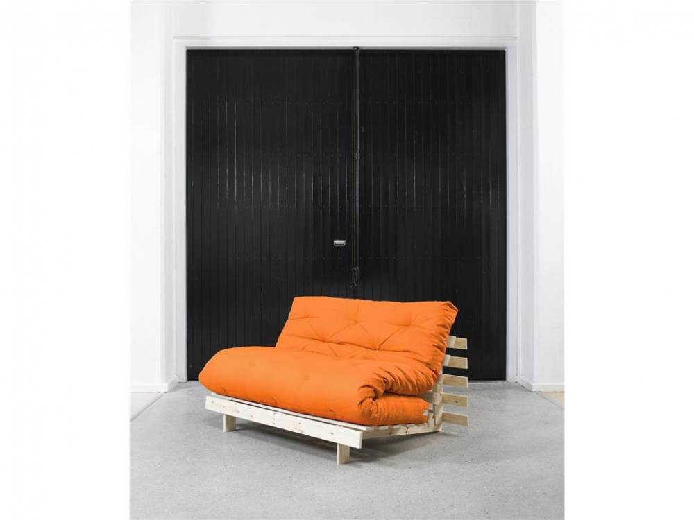 Futon Matratze 140x200 mit Knopfsteppung, Traditional Matratze Orange (938)