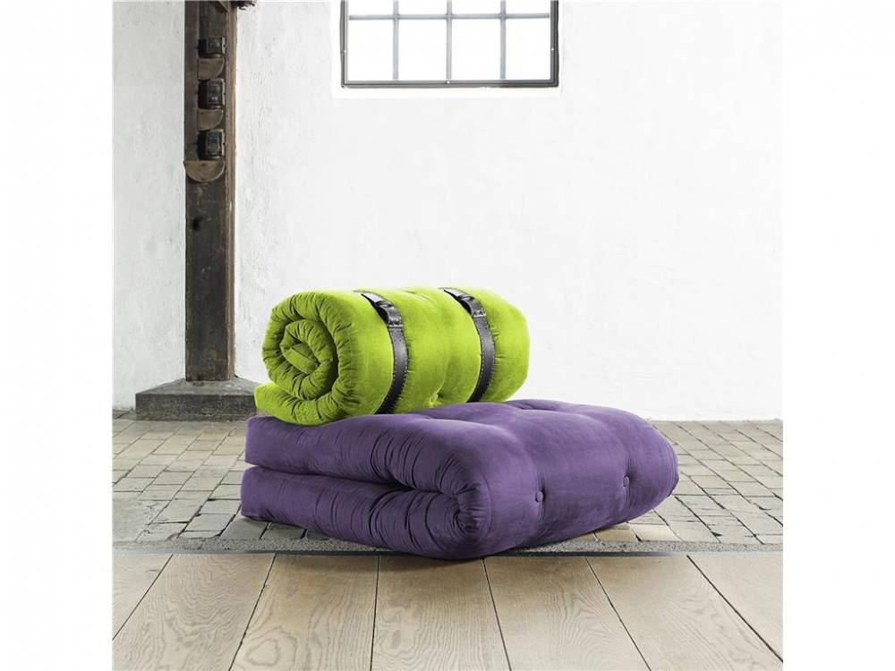 Futonsessel inkl. braunem Ledergürtel Karup BUCKLE UP Purple (936) | Lime (933)