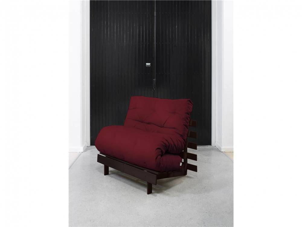Futonsessel mit Matratze, Gestell Wenge, 90cm, ROOTS Karup Light Bordeaux (710)