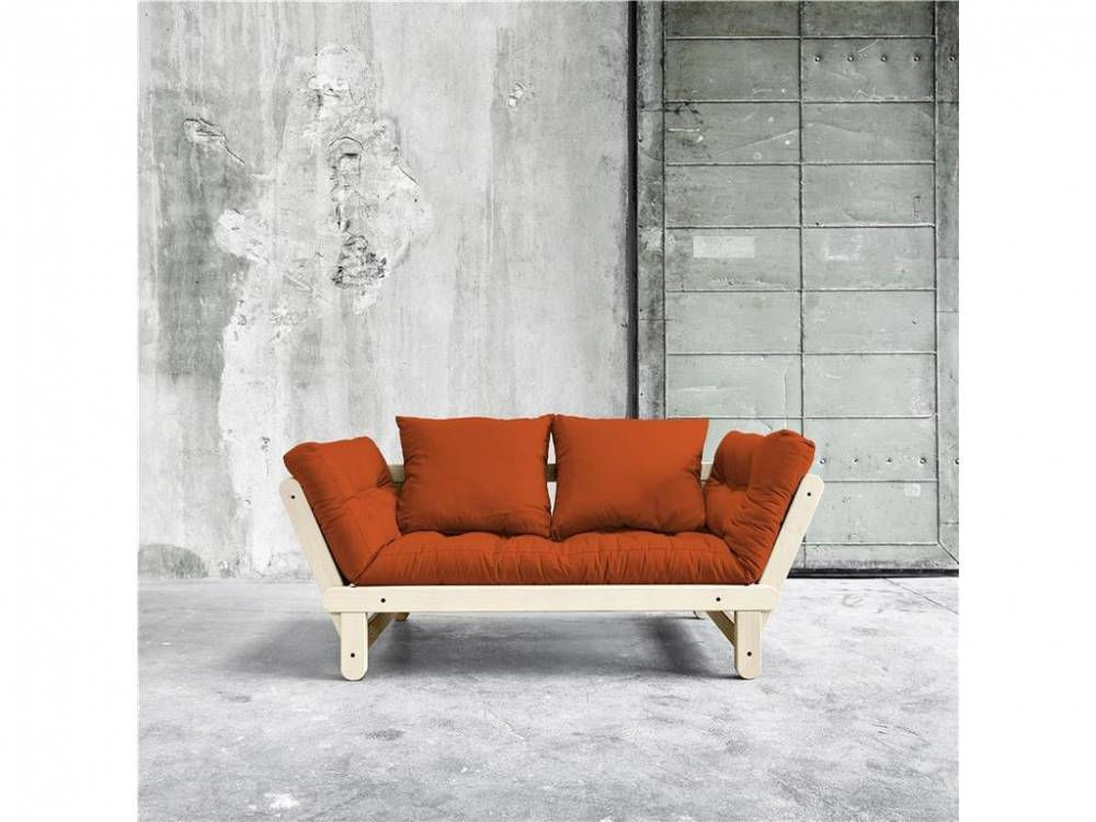 Futonsofa Gestell Natur lackiert Kaup BEAT Orange (738)