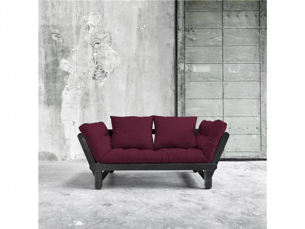 Futonsofa Gestell Schwarz Karup BEAT Light Bordeaux (710)