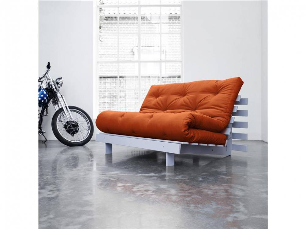 Futonsofa mit Matratze, Gestell Cool Gray, 140cm, ROOTS Karup Orange (R38)