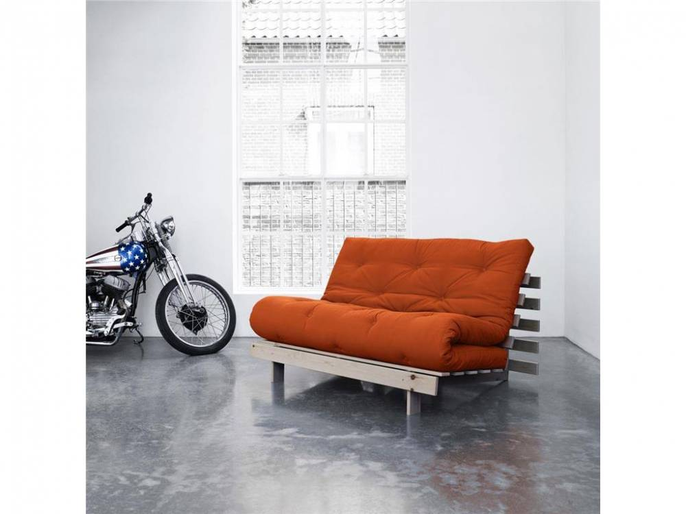 Futonsofa mit Matratze, Gestell Kiefer unbehandelt, 140cm, ROOTS Karup Orange (738)