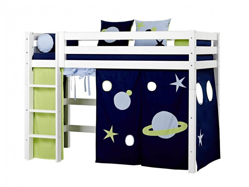hoppekids mittelhoch bett wei mit gerader leiter und lattenrost hoppekids premium. Black Bedroom Furniture Sets. Home Design Ideas