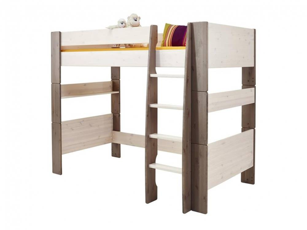 Hochbett mit Rolllattenrost, Gerader Leiter, White wash - Stone, Steens for Kid