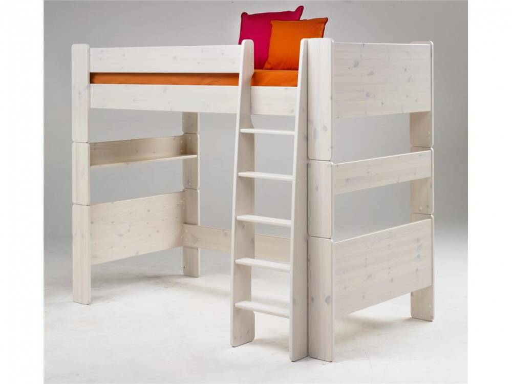 steens hochbett mit rolllattenrost und gerader leiter kiefer massiv steens for kids. Black Bedroom Furniture Sets. Home Design Ideas