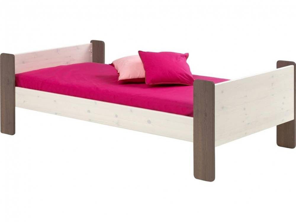 Jugendbett, Kiefer massiv, White wash - Stone, Steens for Kids, Einzelbett