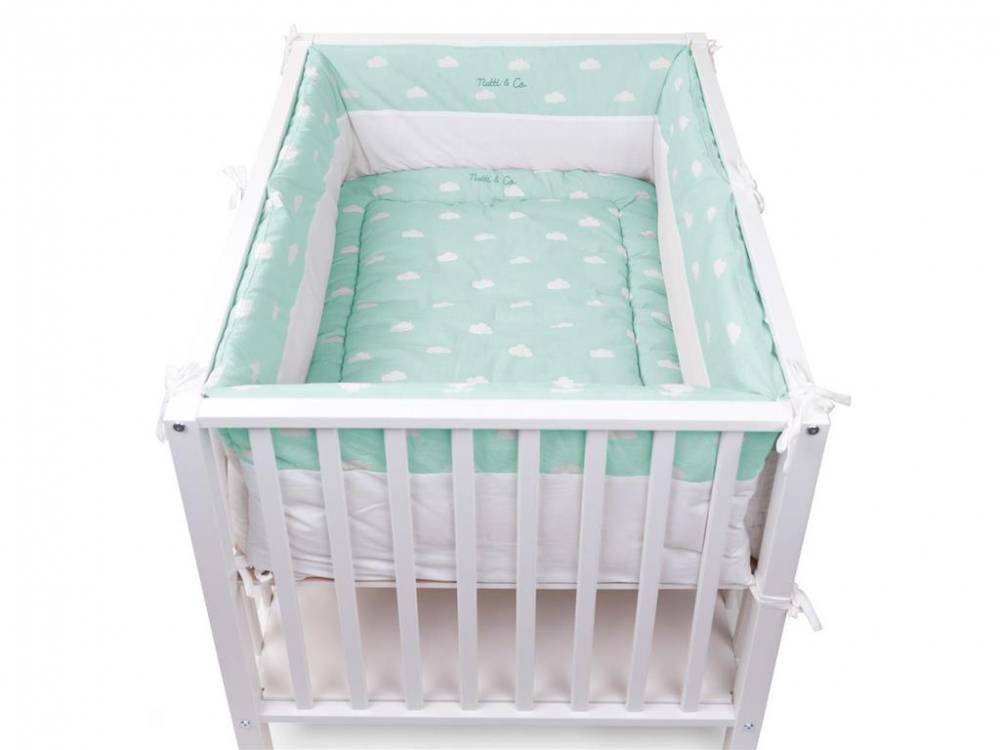 Laufgitter Nestchen Snoozy Clouds Mint Blue, 320x35cm, Childhome