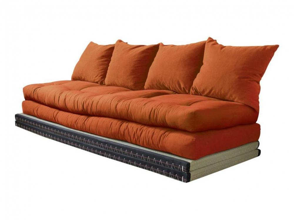 Loungesofa Chico, 2x Tatami Matte, 2x Futon Matratze + 4 Kissen, Karup Orange (C38)