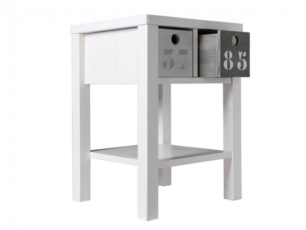 Nachttisch Basic Wood White Wash, Bopita