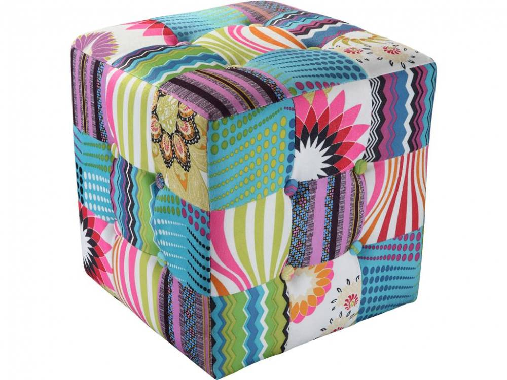 Patchwork Hocker gemustert