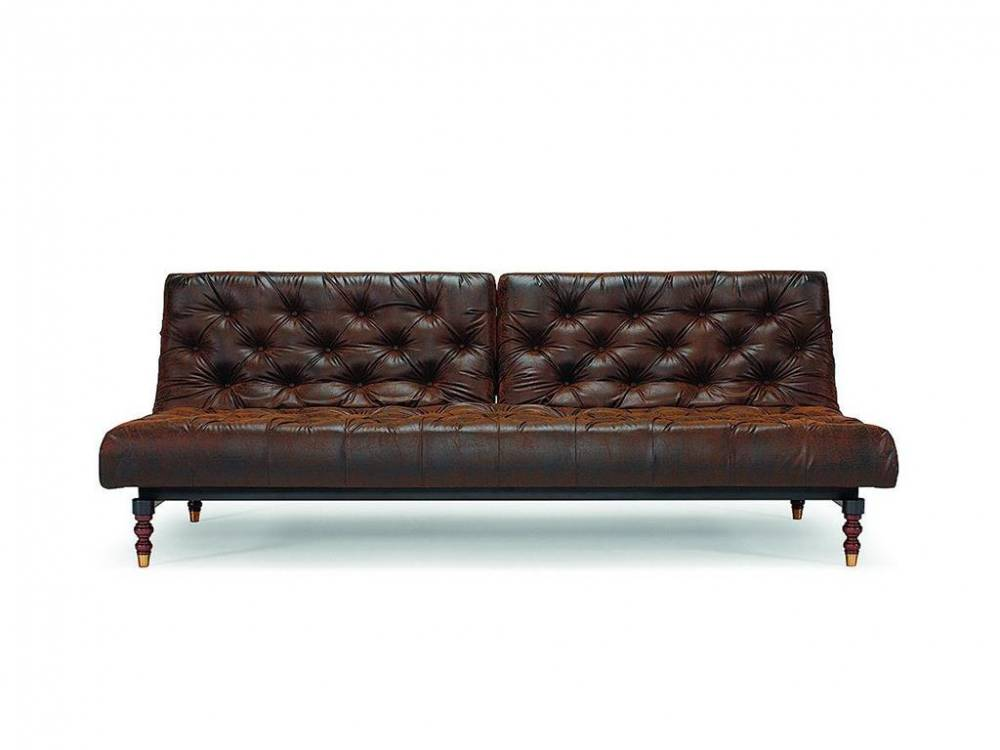 Schlafsofa Oldschool, Braun Lederlook, Innovation