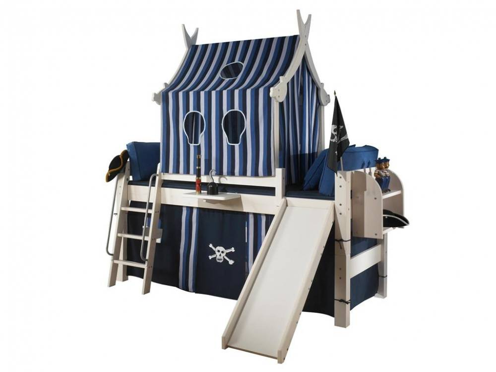 dolphin spielbett wei mit rutsche piratenbett dolphin moby kiefer massiv. Black Bedroom Furniture Sets. Home Design Ideas