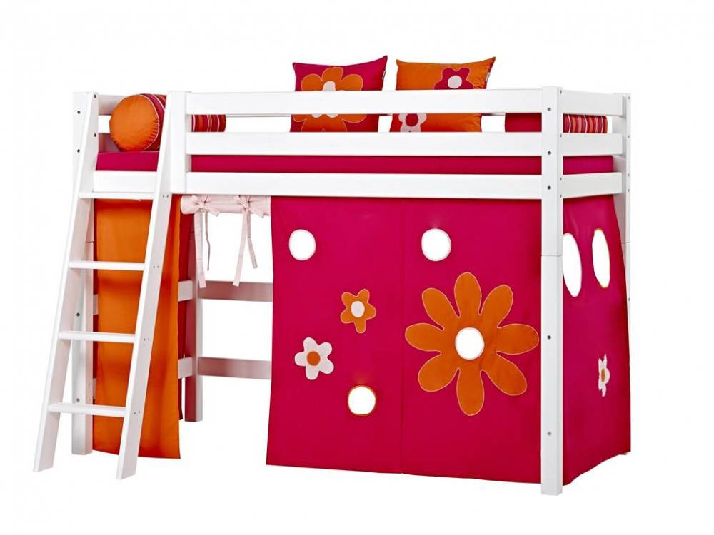 hoppekids vorhang flower power f r hochbett midisleeper etagenbett 90x200cm hoppekid. Black Bedroom Furniture Sets. Home Design Ideas