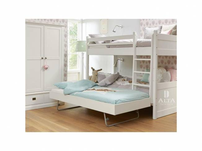 alta furniture etagenbett mit gerader leiter und g stebett snow white 90x200cm. Black Bedroom Furniture Sets. Home Design Ideas