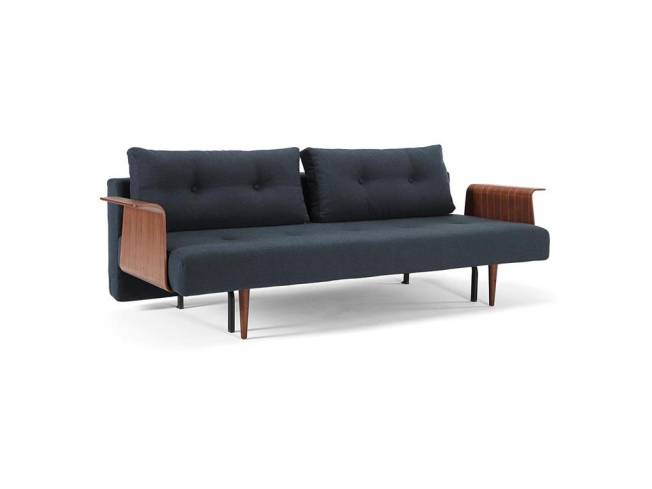 innovation recast sofa dunkelblau mit armlehnen aus holz stylettobeine dunkel. Black Bedroom Furniture Sets. Home Design Ideas