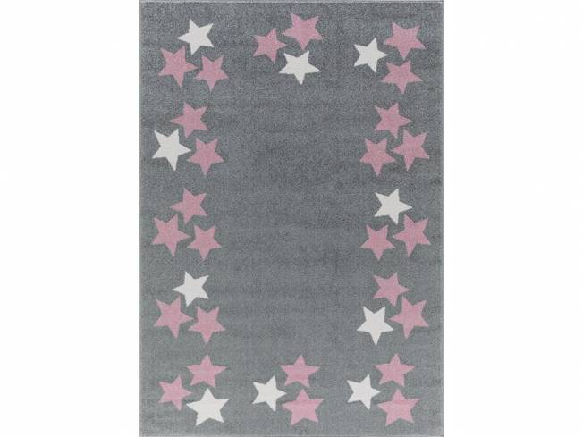 livone happy rugs teppich borderstar silbergrau rosa. Black Bedroom Furniture Sets. Home Design Ideas