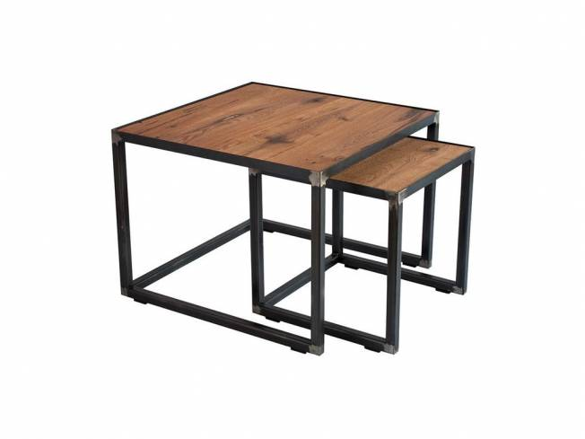 spinder john blacksmith couchtisch john platte eiche gestell stahl 40x40cm und 60x60 cm. Black Bedroom Furniture Sets. Home Design Ideas