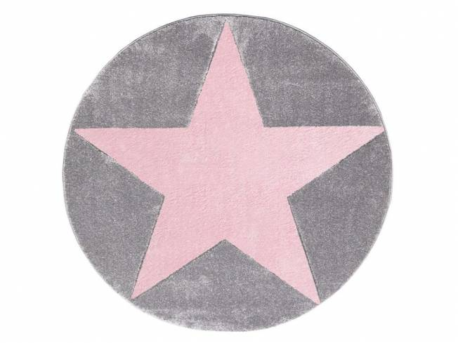livone happy rugs teppich star rund silbergrau rosa 160cm. Black Bedroom Furniture Sets. Home Design Ideas