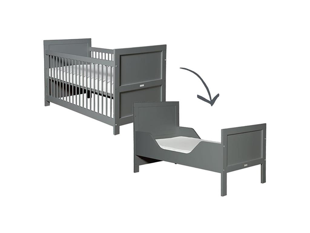 bopita mix match babybett deep grey 70x140cm lattenrost. Black Bedroom Furniture Sets. Home Design Ideas