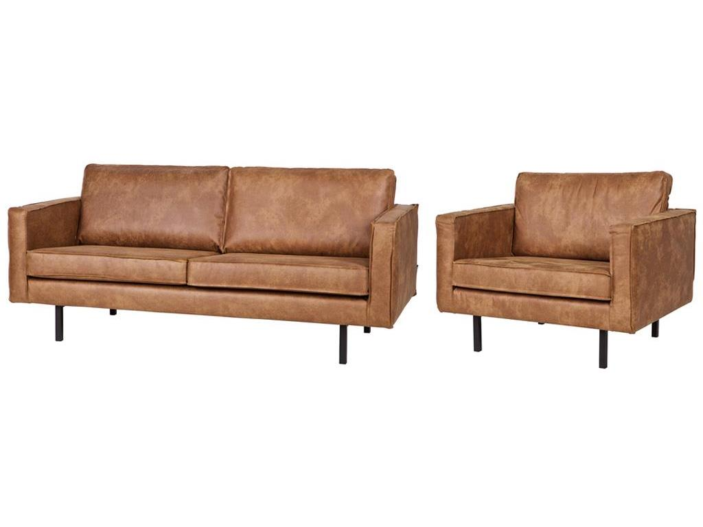 Bepurehome rodeo sitzgruppe lederlook sofa cognac 2 5 for Sofa 1 5 sitzer