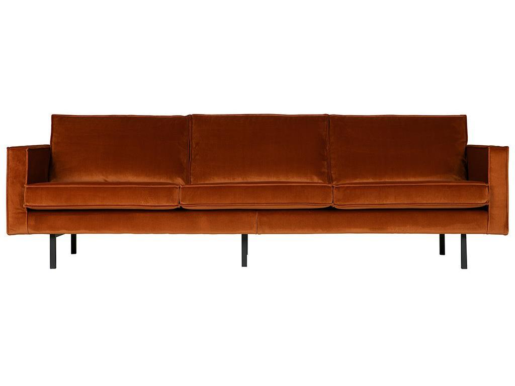 BEPUREHOME Rodeo Sofa Samt Rost 3 Sitzer 800543-126
