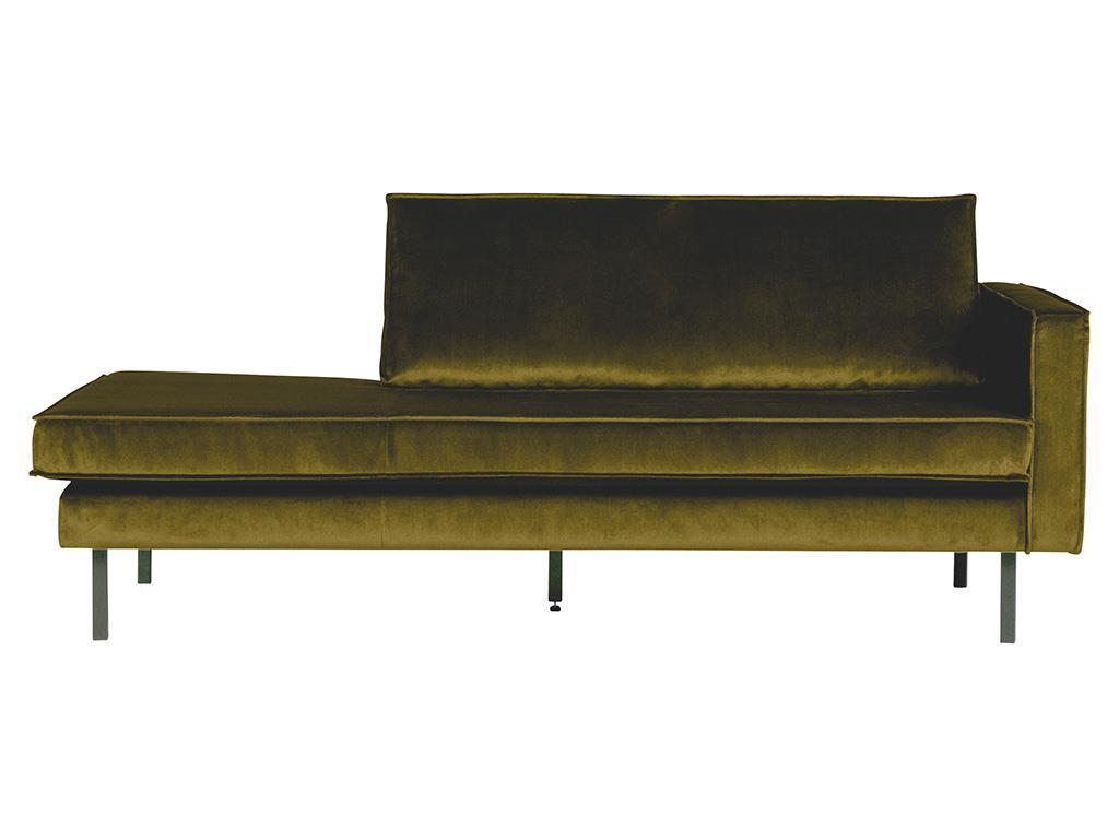 BEPUREHOME Rodeo Daybed Rechts Samt Olive 800746-53