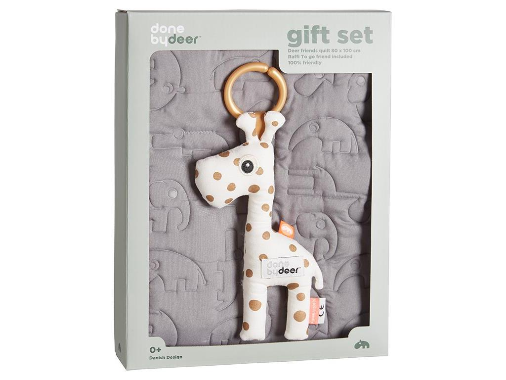 DONE BY DEER™ Decken Geschenk Set Grey 80x100 c...