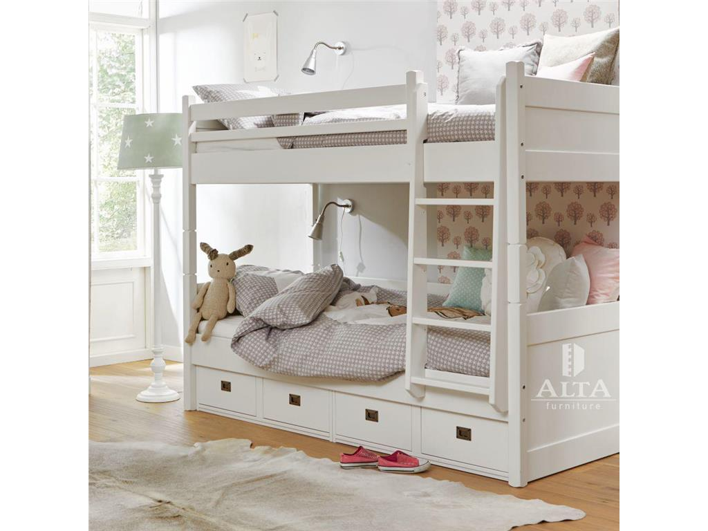 alta furniture etagenbett mit gerader leiter 4 schubladen snow white 90x200cm. Black Bedroom Furniture Sets. Home Design Ideas