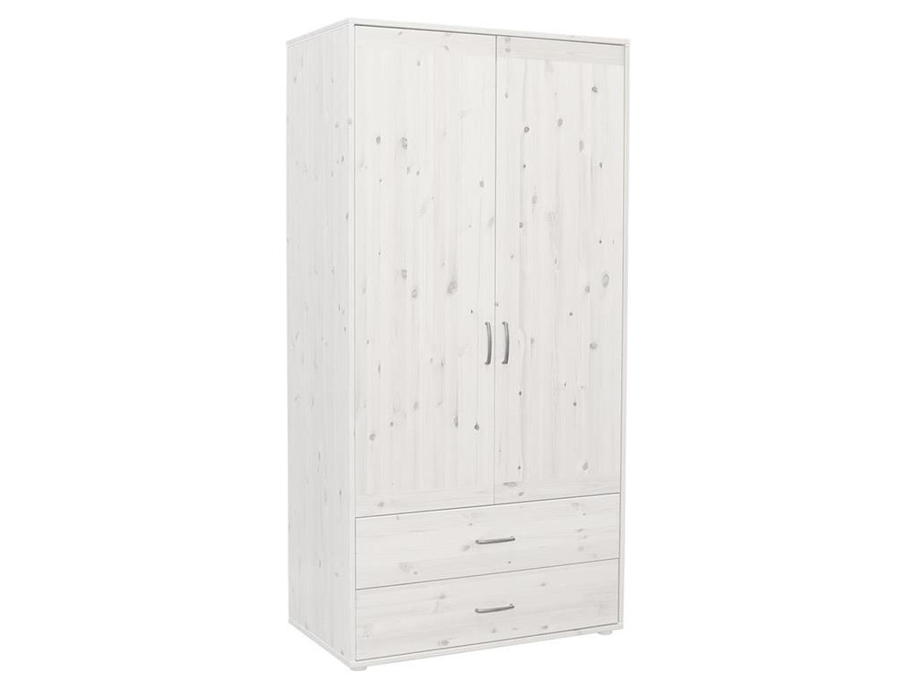 flexa classic kleiderschrank wei mit 2 t ren und 2 schubladen. Black Bedroom Furniture Sets. Home Design Ideas
