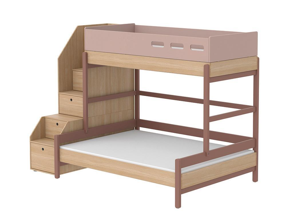 flexa popsicle 3er etagenbett mit stauraum treppe cherry 90x200cm. Black Bedroom Furniture Sets. Home Design Ideas