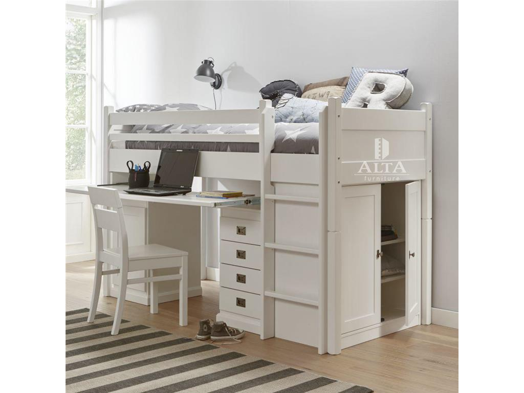 alta furniture halbhochbett mit schreibtisch und schrank snow white 90x200cm. Black Bedroom Furniture Sets. Home Design Ideas