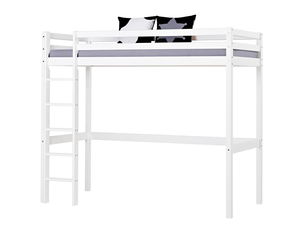 hoppekids hochbett wei mit gerader leiter kiefer massiv. Black Bedroom Furniture Sets. Home Design Ideas