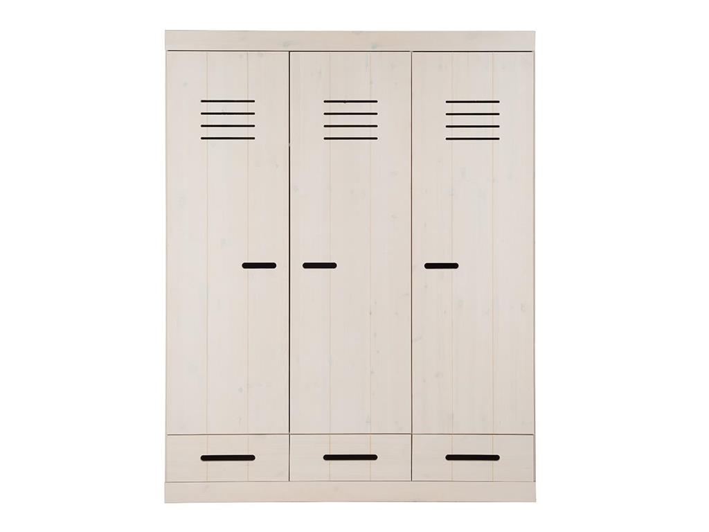 infanskids kleiderschrank 3 t rig wei h he 195cm. Black Bedroom Furniture Sets. Home Design Ideas