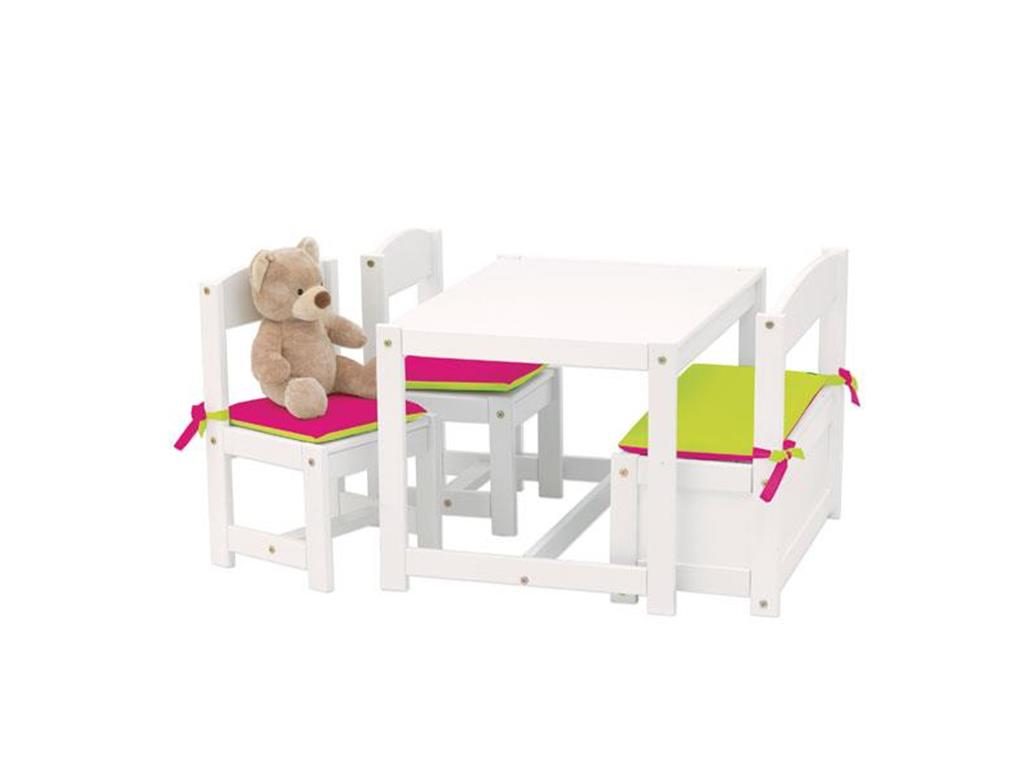 hoppekids kinder sitzgruppe wei 1 bank 2 st hle und 1 tisch 4 teilig hoppekids. Black Bedroom Furniture Sets. Home Design Ideas