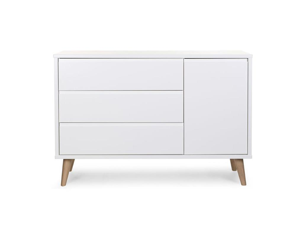 childhome retro rio white kommode mit 3 schubladen und 1 t r. Black Bedroom Furniture Sets. Home Design Ideas