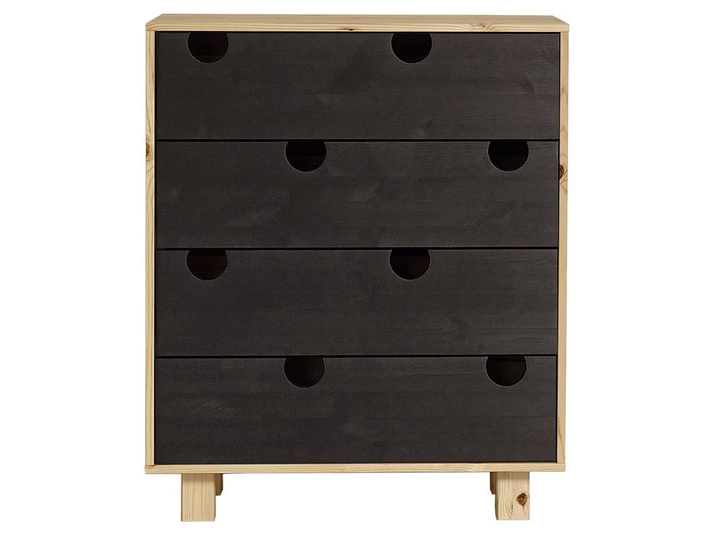 karup kommode mit 4 schubladen kiefer natur schwarz. Black Bedroom Furniture Sets. Home Design Ideas