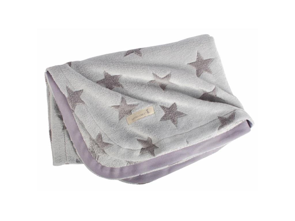 LOTTAS LABLE® Fleecedecke Grey Star 70x100cm 25...