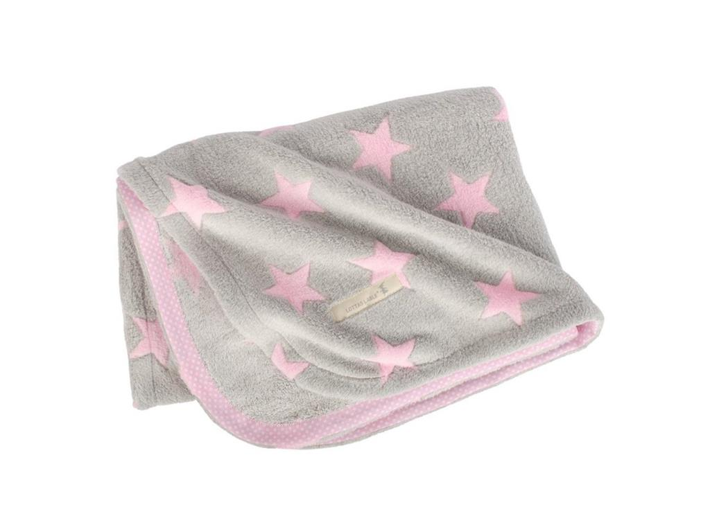 LOTTAS LABLE® Fleecedecke Pink Star 70x100cm 25...