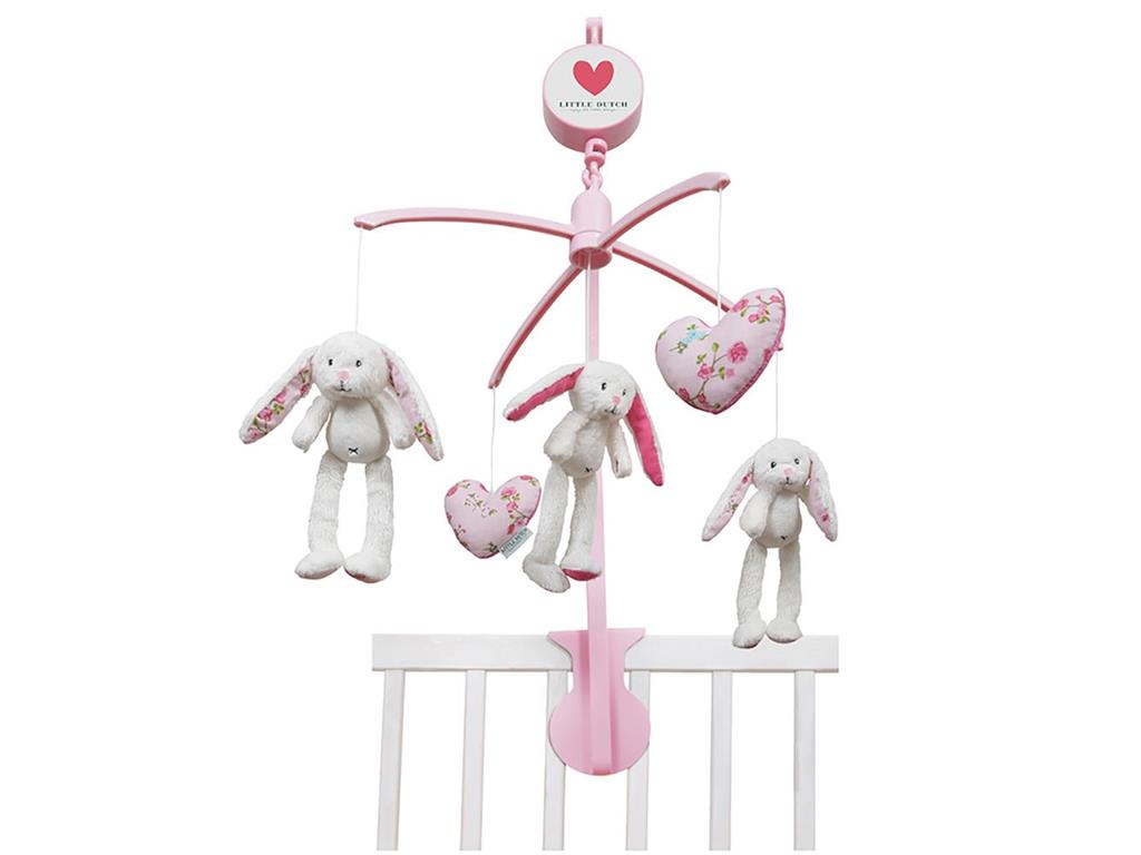 LITTLE DUTCH Pink Blossom Musik Mobile Hase , 4310